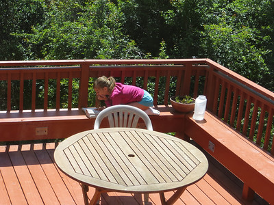 Sofia, on the deck,  reading the last Harry Potter book.