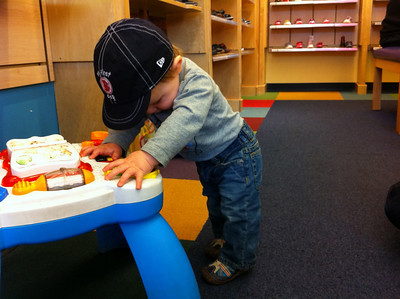 Luca testing out his new sneaks.