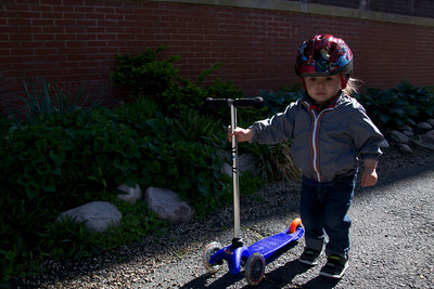 Helmet - check; scooter - check; favorite jacket - check; ready to take on the world - you bet!