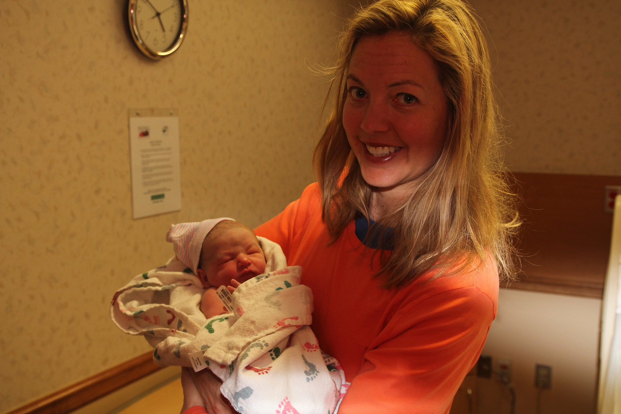 First Day!  We woke at 3am and ran to the hospital.  He was born en route but Mel gave him his first bottle!