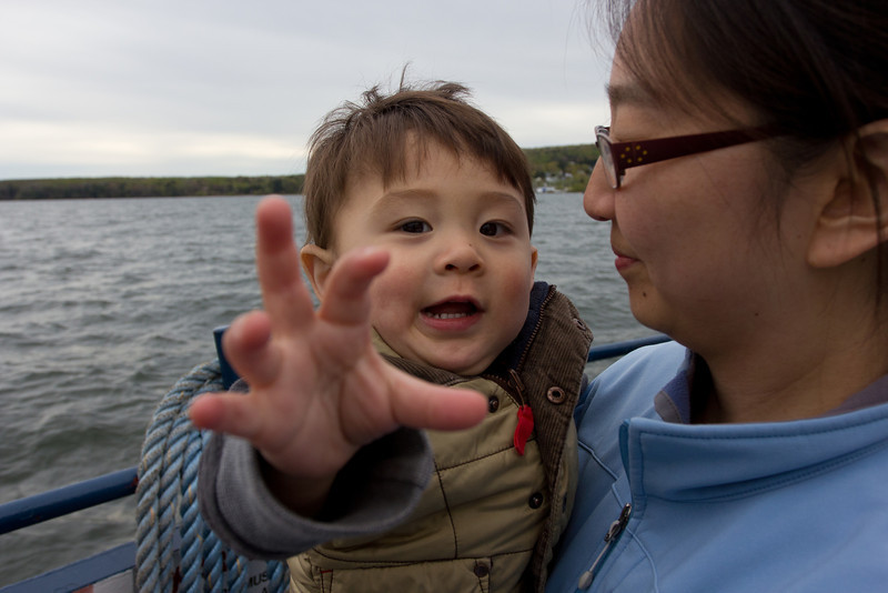 On the ferry ride to Madeline Island.