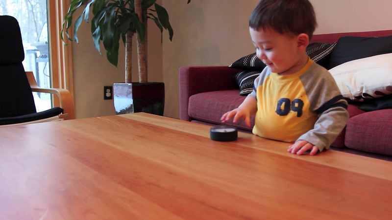 Watch Bryce learn how to roll a puck for the first time!