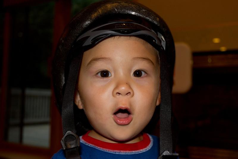 Bryce loves helmets.