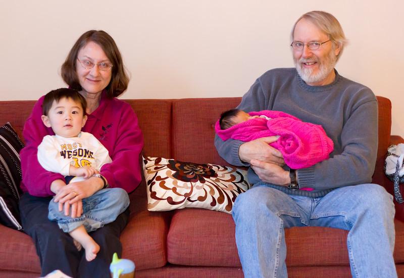 Relaxing with Grandma and Grandpa.
