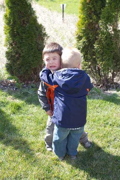 Bryce was crying as he was in a timeout for misbehaving. Gavin was concerned.