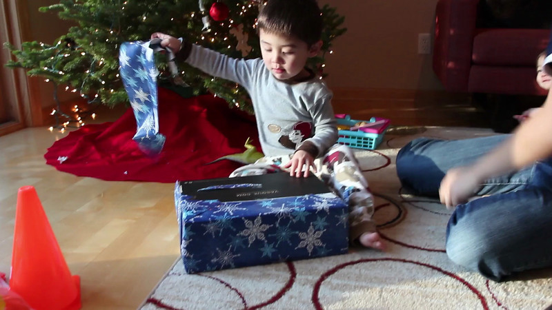 Bryce was super excited to open his hockey skates!