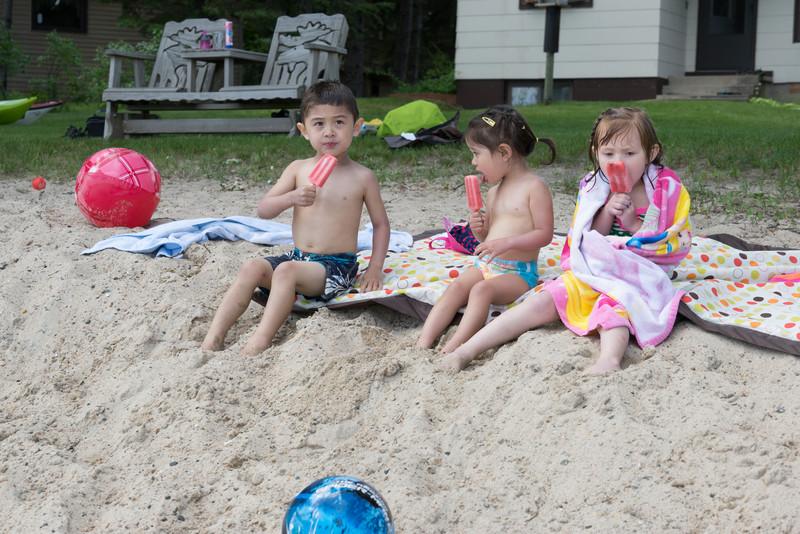 Popsicles on the beach at Grandmas!