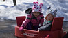 Cousin Logan and Maddie going for a wagon ride