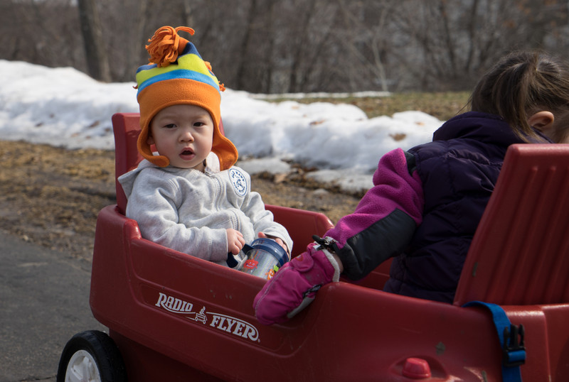 Cousin Aiden and Maddie going for a wagon ride