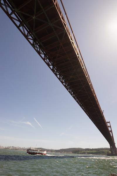View of Golden Gate bridge from the ocean below.