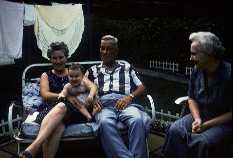 Sue Ludwig at 6.5 Months Old with Grandma and Grandpa Steffen, Marge and  - July 1959