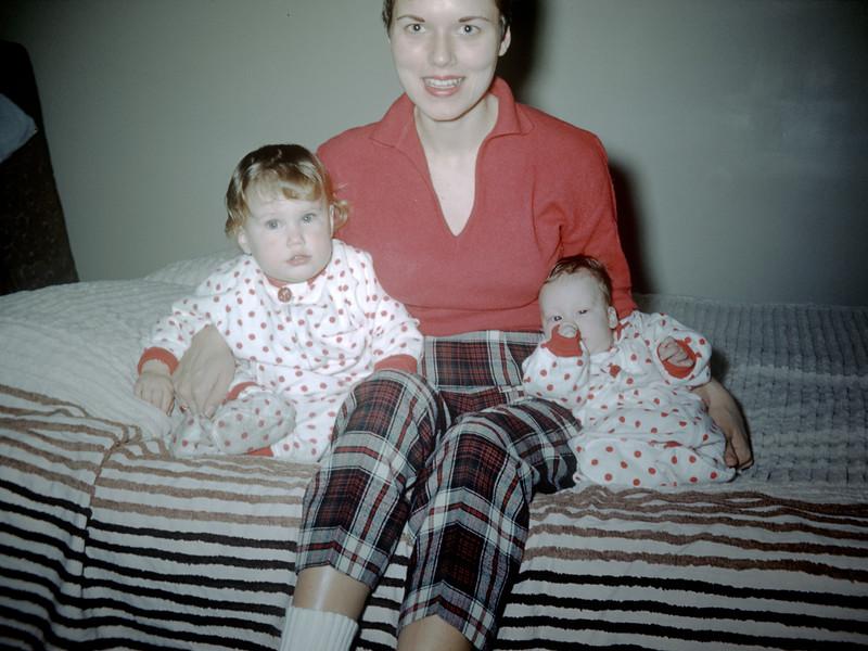 Sue Ludwig (13 mos.) & Linda Ludwig (1.5 mos) with Mom - December 1959