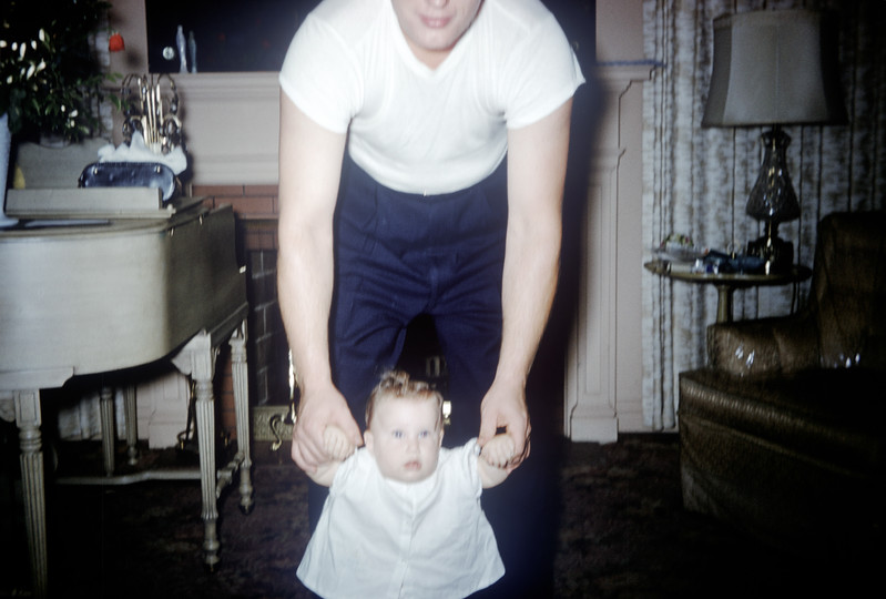 Sue Ludwig at 6.5 Months Old with Uncle Neil - July 1959