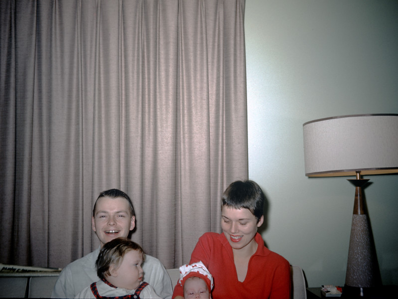 Sue Ludwig (13 mos.) & Linda Ludwig (1.5 mos) with Mom and Dad - December 1959