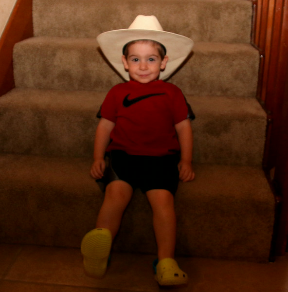 Cowboy hat, for going out to market.