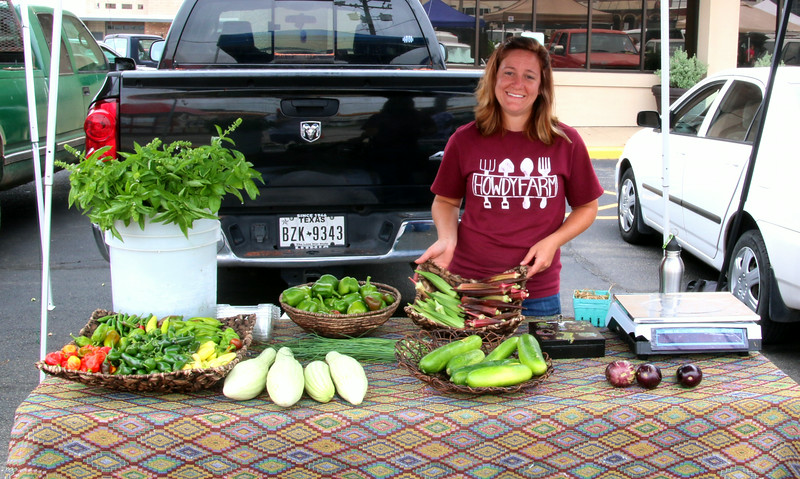 Taylor's food display at the farmer's market in Bryan