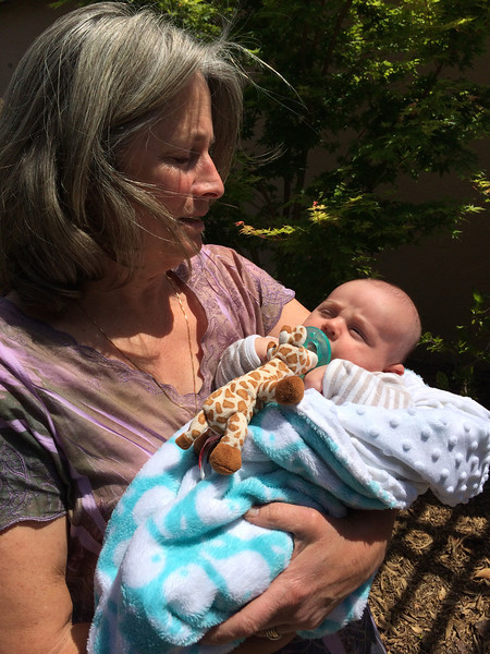 Aunt Judy holding Luke for the first time