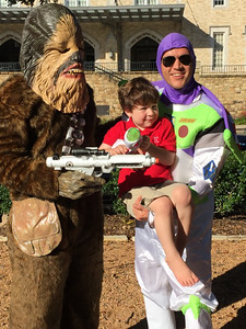 Casey holding Luke and Keith as Chewbacca 10-25-2014.