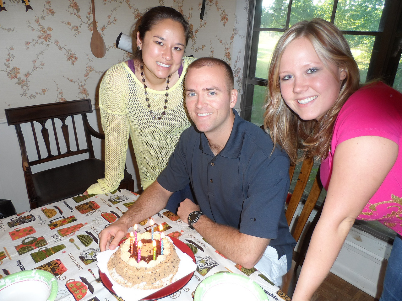 Tiffany, Luke, and Katie.  Luke ready to blow out his candles!