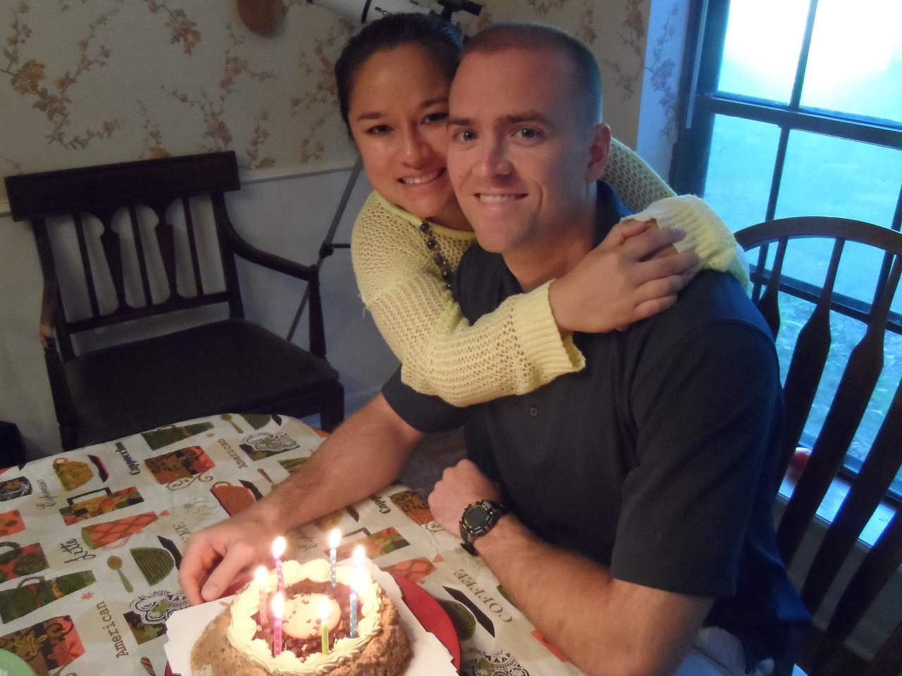 Luke and his sweet wife, Tiffany, ponder Luke's birthday wish.