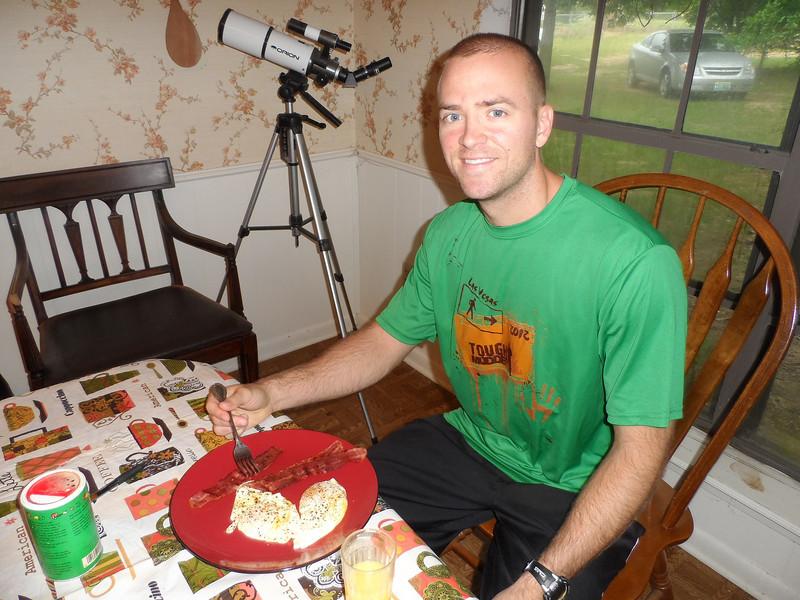 Luke eats his birthday breakfast!!