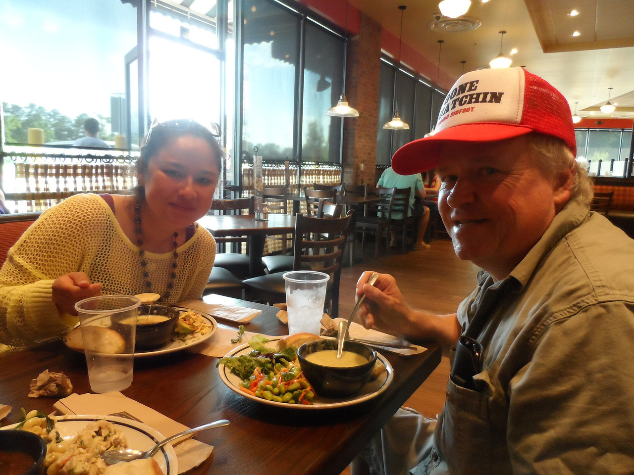 Dad and Tiffany at the Corner Bakery Cafe.
