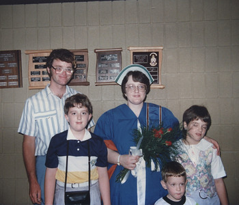 June 23, 1990 - RNA Graduation at Georgian College (Orillia Campus) - Dave, Ian, Me, Emily, Alex