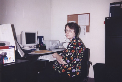 Working as a Medical Transcriptionist at a temporary facility, after WorkAble Inc. was struck by lightening- July 16, 1998 (Pic taken by Lisa Langille - written on the back: Just a reminder of how ecstatic you were to be working here! xo Lisa)