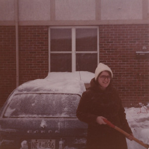 January 1981 - shovelling driveway at Tamarack Woods townhouse