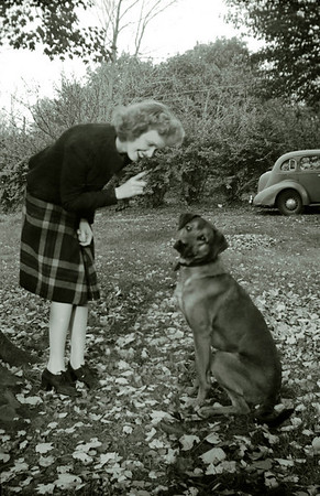 Lalla admonishing unidentified dog.  WWII era.