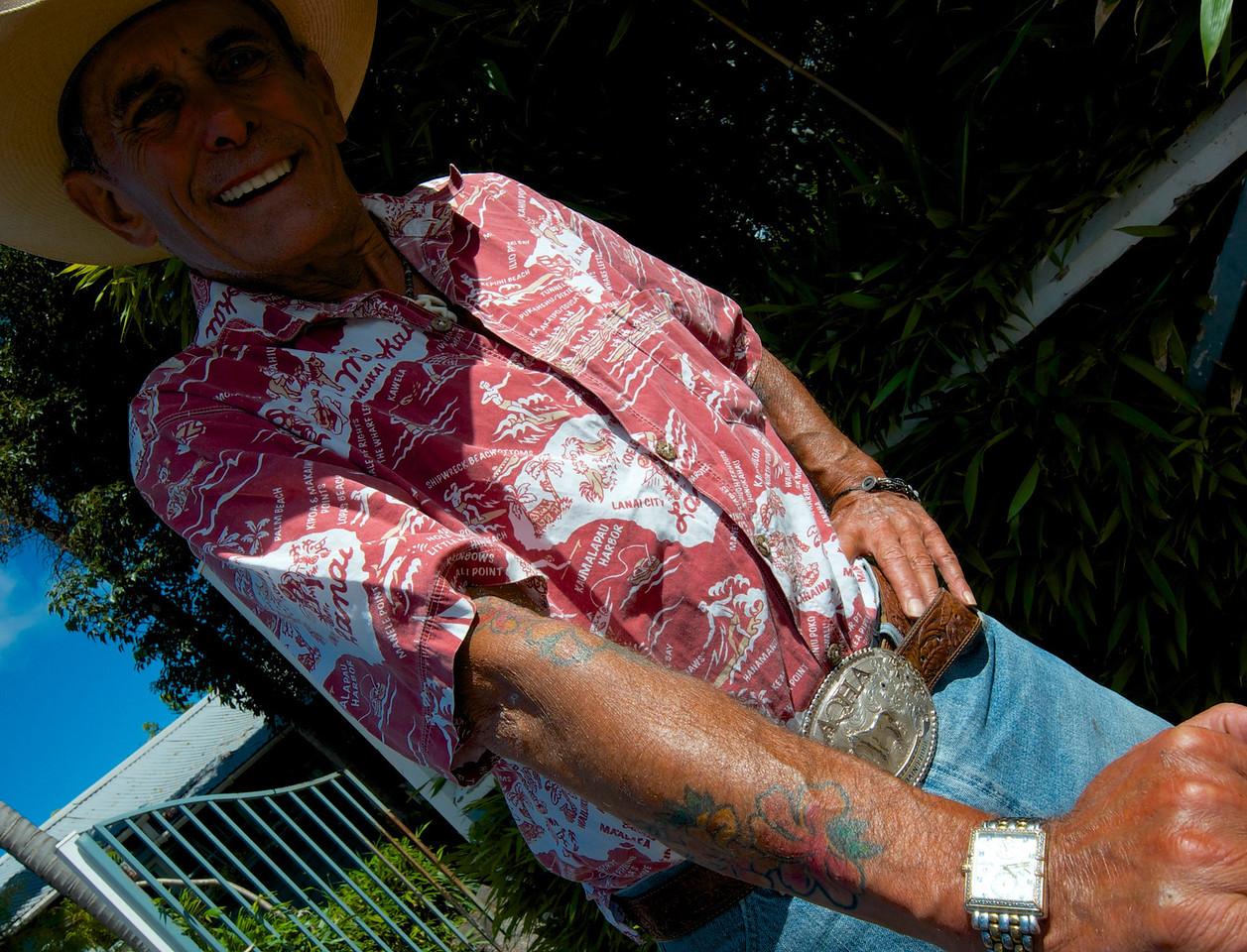 Huey! Makawao Cowboy Mascot/Greeter. Opened Kaanapali Beach Hotel in 1969 when he was young. Character, fun to talk to.....