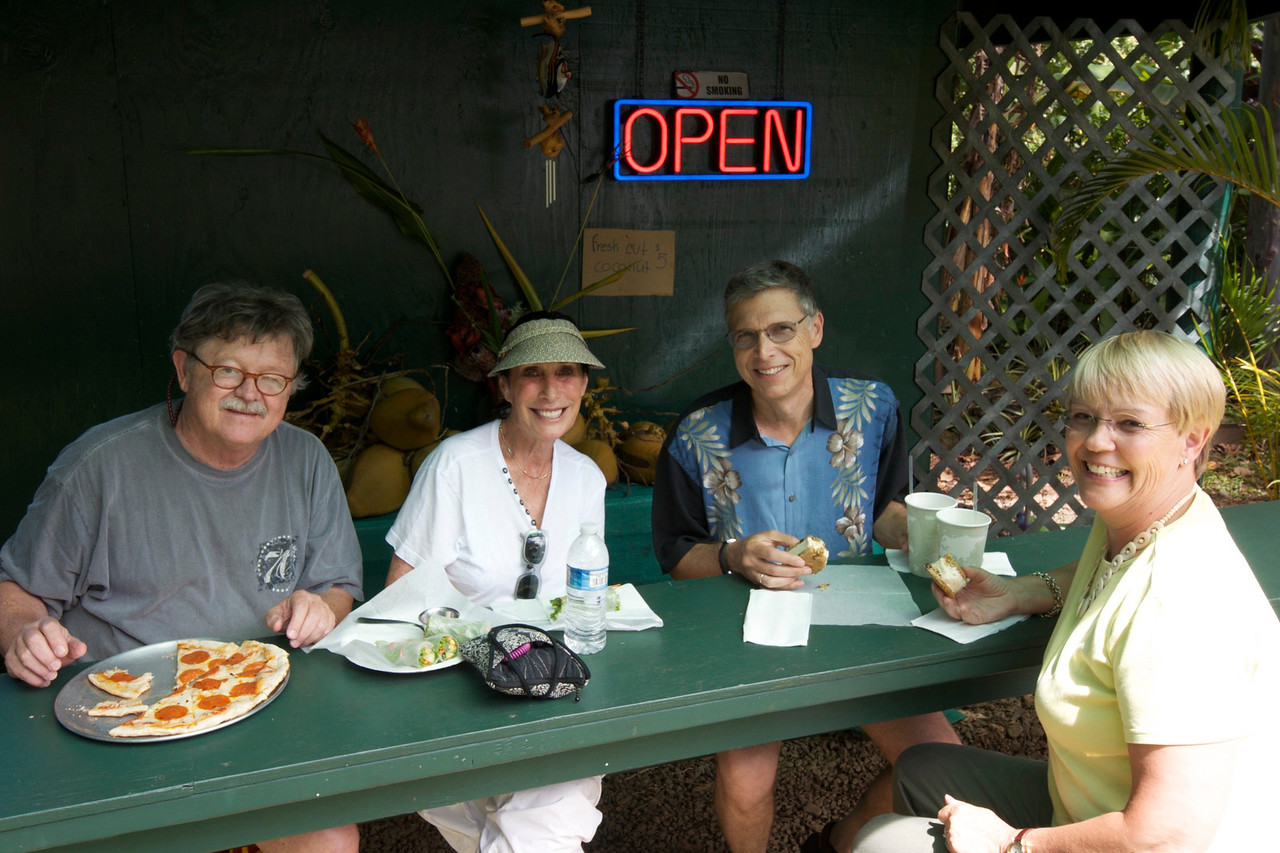 Jonathan's- Garden of Eden on the Road to Hana- nice spot, good food, Danielle makes great jewelry. Professor Horowitz and Corrine from UCSB.