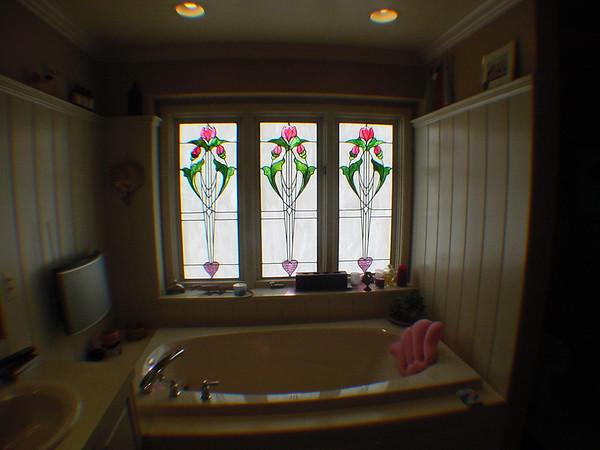 MY MASTER BATH WINDOWS, WAINSCOTTING, CORIAN DECK & WOOD PANEL TUB APRON. TROY, MI 1998