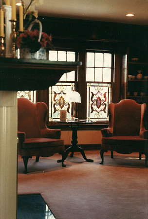 LIVING ROOM FIREPLACE AND LEADED WINDOWS. HUNTINGTON WOODS, MI 1988