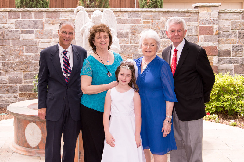 Mackenzie's Communion, with Simoneaux & Ryan Grandparents