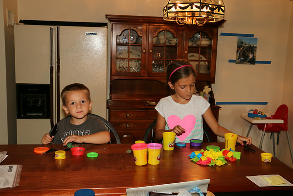 Maddi and CJ playing with playdough