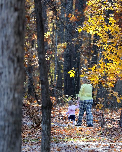Maddie and Grand Mom taking a walk.