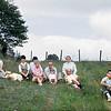 September 1965:  Dave, Molly (the dog), Judy (pregnant with Ben), Julia K, Cora, Jack, Dan, Sylvia and Bernie, Jim.