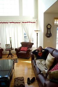 Linda lounges around.