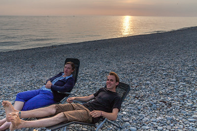 Malcolm and Katy on the beach at Aberystwyth