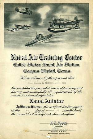 Fran's 1944 Naval Aviation diploma