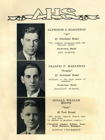 Composite from the Arlington High School 1934 yearbook showing Fran, Alphonse and Don