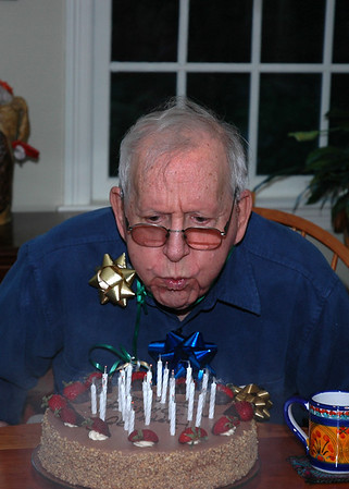 Blowin' out the cake -- all 90 candles?