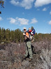 Dad and Lukester hiking on Lava Island, Deschutes River