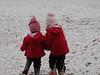 Camden's helping Claire wade through the snow.