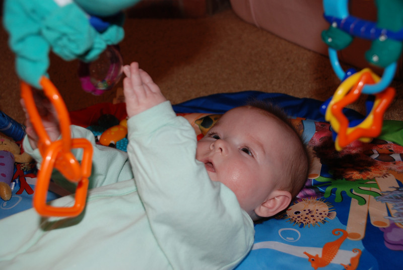 Carlyle playing on her mat.