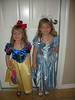 Camden and Claire dressed as Snow White and Cinderella. They can't wait to get to Avery's birthday party.