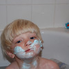 B loves shaving cream in the bath