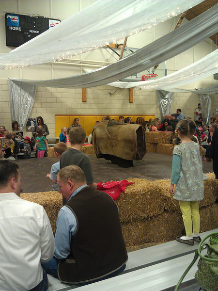 Tumalo Community School Boots & Bling Auction/Fundraiser.  Yep, that's a mechanical bull for the riding - $5/ride!