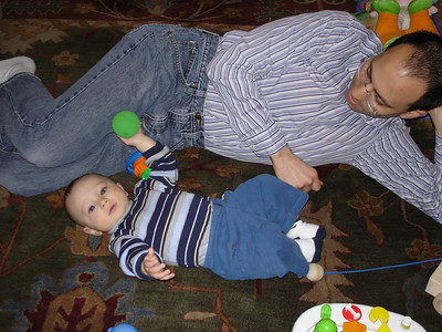 Daddy and Lincoln love to play together.